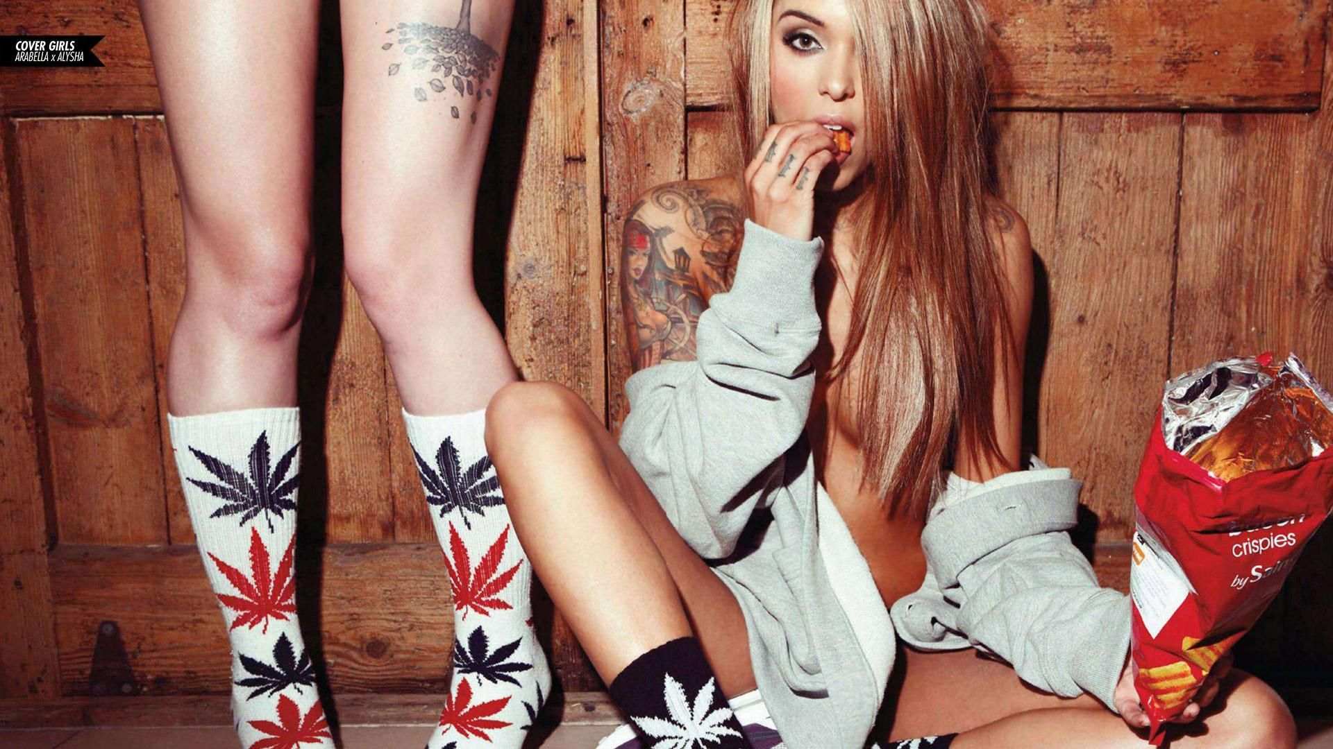 Weed and nude girls backgrounds
